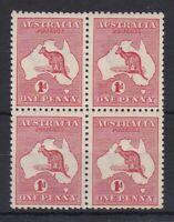 K864) Australia 1913 Kangaroos 1st wmk 1d Red die IIAACSC 4, block of 4