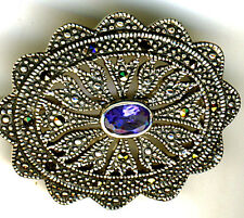 925 Sterling Silver Marcasite & Sapphire Blue Stone Oval Brooch  W. 36mm  1.3/8""