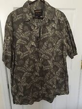 WOOLRICH John Rich and Bros Cotton Linen Mens 2 XL Camp Shirt Hawaiian Jungle