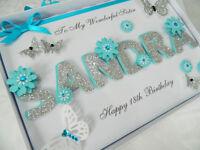 Handmade Personalised Card Birthday 18th 20th 30th Any Name Sister Gift Box 26