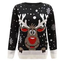 Men Ladies Women Knitted Reindeer Rudolph Xmas Christmas Jumper Sweater 24 26