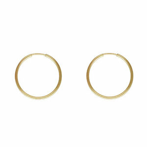14K Yellow Plate Gold Small Thin Endless Wire Hoop Earrings