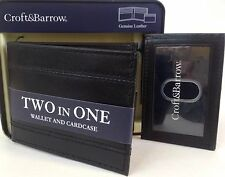Croft & Barrow Men's Black Two In One Wallet & I.D Card case New In Box MSRP $30
