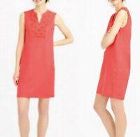 J.Crew Embroidered Sunburst Dress Small S Coral Orange Tunic Shift Sleeveless