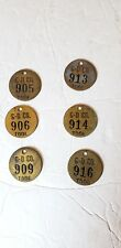 Lot 4 6 Vintage Brass Tool Tags #see pics & details Gardener Denver Quincy Il.