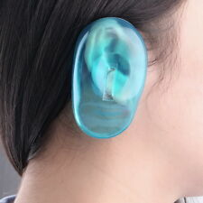2PCS Clear Silicone Ear Cover Hair Dye Shield Protect Salon Color Blue New UL