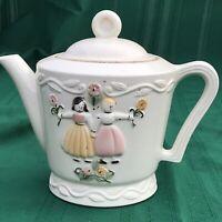Prop 1920-1940s Large Porcelier Teapot Tea Pot Vitreous China USA Pottery Girls