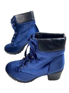 SM New York Gia Boots Crushed Blue Velvet Platform Ribbon Laces 10M Chunky Tread