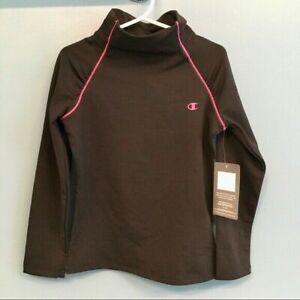 Champion mock neck Girls Shirt S, M, L Coldgear Black athletic L/S shirt
