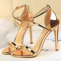 Women Gladiator Sandals Open Toe High Stilettos Heels Party Wedding Pumps Shoes