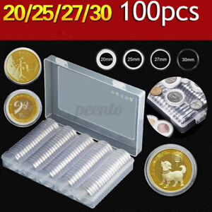 100PCS Coin Storage Boxes Case Capsules Holder Clear Plastic Round 20MM 25mm