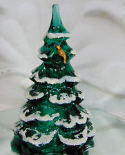 """NEW Fenton Green Glass Snow Frosted CHRISTMAS TREE GOLD PARTRIDGE FIGURINE 6.5"""""""