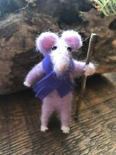 """Little """"Theo"""" The Handcrafted Felted Mouse with Scarf & wood walking stick"""