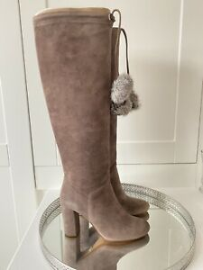 Michael Kors Remi Taupe Suede Pom Pom boots size 4 (Eur 37)