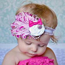 Baby Infant Toddler Bow Flower Peacock Feather Hair Band Headwear Headband LJ