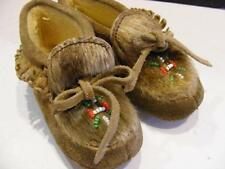 """Small Vtg Inuit Shoes for Indian Doll Suede Beaded Hair Moccasin 5.5""""x2.25"""""""