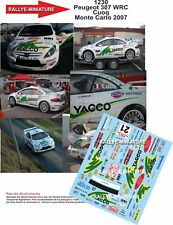 DECALS 1/32 REF 1230 PEUGEOT 307 WRC CUOQ RALLY MOUNTED CARLO 2007 RALLY
