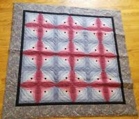 Vintage Handmade Quilt Wall Hanging Patchwork Country Log Cabin Star Blue Pink