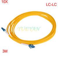 10pcs LC/UPC to LC/UPC Fiber Patch Cord Jumper Cable SM Simplex 3M 2.0mm