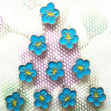 10PCS blue flower floating charm for glass living memory locket #112