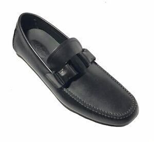 NEW SALVATORE FERRAGAMO Sardegna Vara Buckle  Black Leather Loafer Mens Shoe