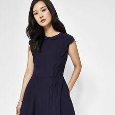 $315 TED BAKER Triksi Dark Blue Scalloped Sleeve Skater Dress TED 2 / US 6
