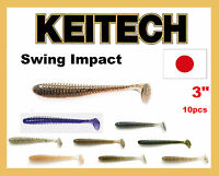 """Fishing Lures KEITECH Swing Impact 3"""" 10 pcs JAPAN Strong scented soft plastic"""