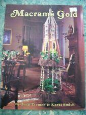 Vtg 70s Mid Century MACRAME GOLD Patterns Book WALL HANGERS JEWELRY PURSES SHIRT