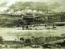 Original Civil War Print SPOTTSYLVANIA HANCOCK'S 2nd CORPS 1864 Antique Matted