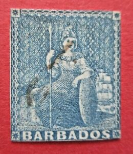 SG10 1855 Victoria Barbados 1d Blue No Watermark White Paper Used