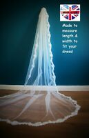 Bridal Veil *Cathedral Length*Off white/ Ivory*Wide corded Lace*Bespoke*