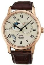 ORIENT AUTOMATIC SUN & MOON VERSION 2 BROWN LEATHER MEN'S WATCH FET0T001W0 NEW