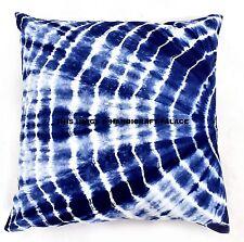 "26"" Blue Indigo Tie Dye Cushion Covers Indian Shibori Pillow Cases Boho Handmade"