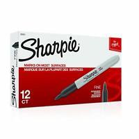 Sharpie Permanent Markers, Fine Point, Black, 12 Count