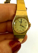 Vintage Pulsar Y580 0039 Quartz Wrist Ladies Watch Runs New Battery Gold Color