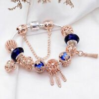 Crystal Charm Bracelets Flowers Women Elegant Jewelry Gold Floral Wristlet Gift