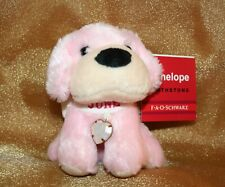 "FAO Schwarz Penelope Birthstone Plush JUNE White Heart Charm 4"" Pink Puppy Dog"
