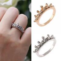 Mode Prinzessin Frauen Rose Gold Silber Strass Krone Ring Zeigefinger Neu