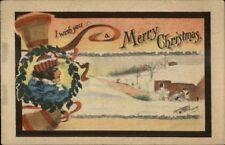 Cobb Shinn Christmas - Beautiful Woman & Bells c1910 Postcard