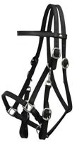 BLACK Leather Combination Halter Bridle w/ 7' Split Reins!!! NEW HORSE TACK!!!