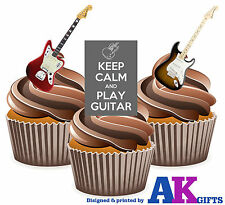 PRECUT Keep Calm & Play Guitar 12 Edible Cupcake Toppers Decorations Birthday