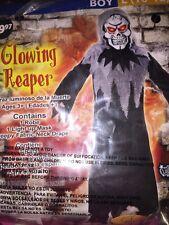 Glowing Reaper Costume Boys Kids Size Large (10-12) New Light Up Mask
