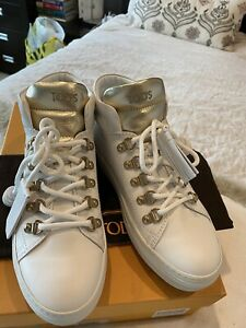 Tod's High Top White & Gold Sneakers Sportivo Size 37.5 Brand NEW! RRP $980