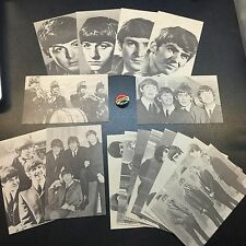 The Beatles Fan Club Member Button Pin and 15 3 x 5 Black and White Arcade Cards