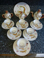 Japanese Moriage Naked Lithophane Dragonware Tea Set, 22 Pieces