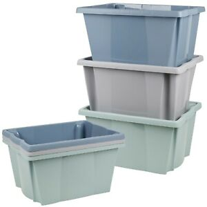 Set of 3 or 6 Plastic Stackable Storage Boxes Set Sturdy Colored Containers Toys