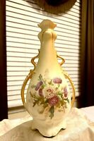 Beautiful Vintage Hand Painted Two Handled Floral Vase
