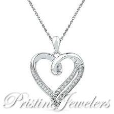 Solid 925 Sterling Silver Heart Necklace White Stone Pendant Chain Women Jewelry