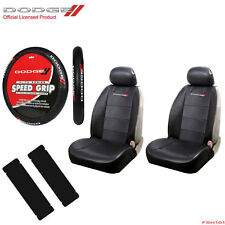 New 7pc Dodge Elite Logo Car Truck SUV Front Seat Covers Steering Wheel Cover