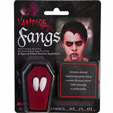 WHITE VAMPIRE DRACULA FANGS CAPS TEETH FANCY DRESS WITH PUTTY ADHESIVE HALLOWEEN